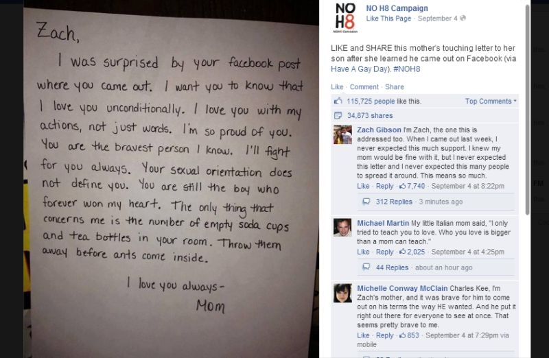 Mother Stuns Son with Supportive Letter After He Comes Out on Facebook