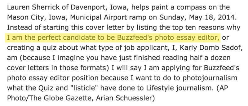 Ap Editor Accidentally Adds Her Buzzfeed Cover Letter To