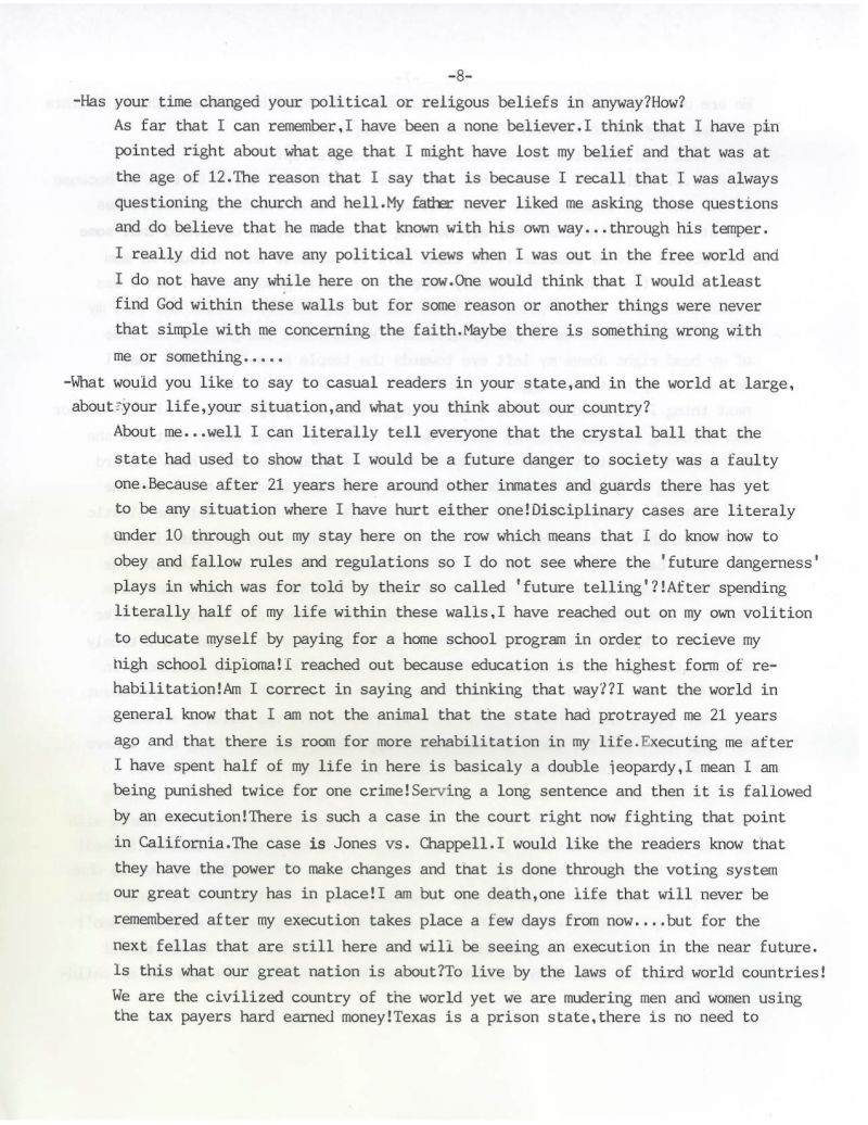 A Letter From Arnold Prieto, Who Was Executed in Texas on
